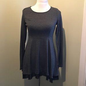 Empire waist long sleeve top, gray - small